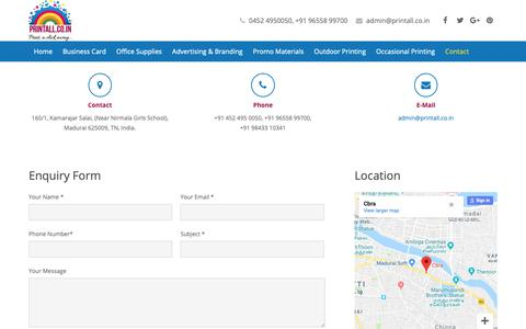 Screenshot of Contact Page printall.co.in - Calendars Online Printing In Madurai, Daily Calendars Printing Company - captured Oct. 25, 2018