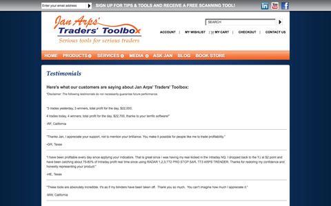 Screenshot of Testimonials Page janarps.com - Reviews of Stock Trading Software & Tools | Jan Arps' Traders' Toolbox - captured Feb. 11, 2016
