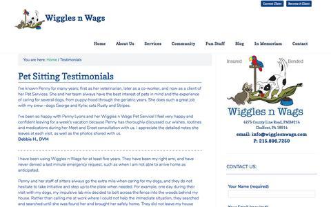 Screenshot of Testimonials Page wigglesnwags.com - Testimonials - captured Dec. 11, 2016