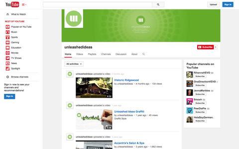 Screenshot of YouTube Page youtube.com - unleashedideas  - YouTube - captured Oct. 29, 2014