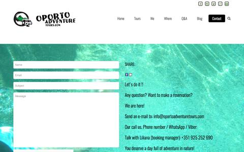 Screenshot of Contact Page oportoadventuretours.com - Contact - oPorto Adventure Tours - captured May 10, 2017
