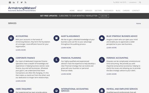 Screenshot of Services Page armstrongwatson.co.uk - Services | Armstrong Watson - captured May 30, 2017