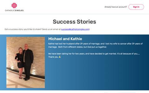 Screenshot of Testimonials Page catholicsingles.com - Catholic Singles Success Stories | Does Catholic Dating Work? - captured Sept. 27, 2018
