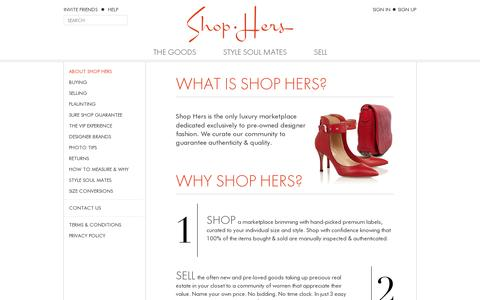 Screenshot of About Page shop-hers.com - Shop Hers - captured July 18, 2014