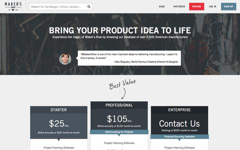 Screenshot of Pricing Page makersrow.com - Pricing | Maker's Row - Factory Sourcing Made Easy - captured Oct. 10, 2014