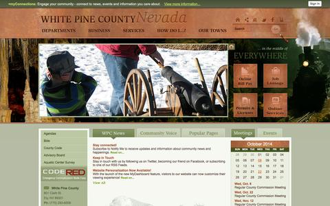 Screenshot of Home Page Privacy Page whitepinecounty.net - White Pine County, NV - Official Website - captured Oct. 7, 2014