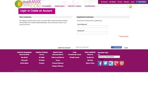 Screenshot of Login Page eyemaxxoutlet.com - Customer Login   Free Shipping on orders over $50 - captured Oct. 3, 2014