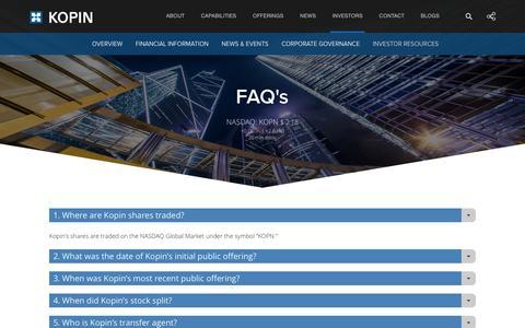 Screenshot of FAQ Page kopin.com - Kopin Corporation - Investors - Investor Resources - FAQ's - captured Sept. 30, 2016