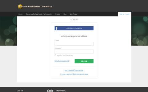 Screenshot of Login Page nationalrealestatecommerce.com - National Real Estate Commerce - captured Jan. 13, 2016