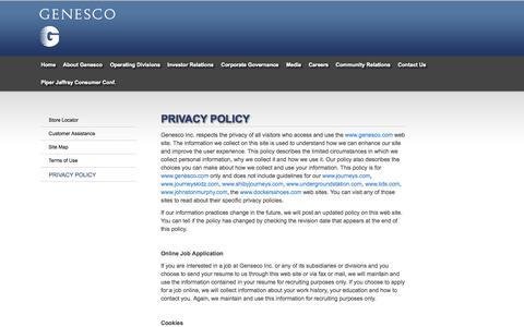 Screenshot of Privacy Page genesco.com - Privacy Policy | GENESCO - captured June 16, 2015