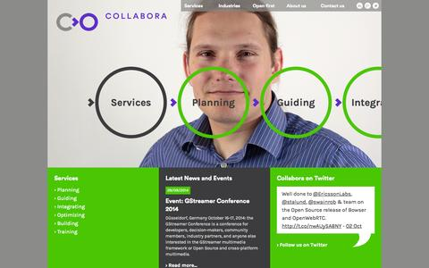 Screenshot of Services Page collabora.com - Services - captured Oct. 8, 2014