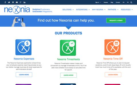 Screenshot of Home Page nexonia.com - Expense Reporting and Time Reporting Software | Nexonia - captured Sept. 24, 2017