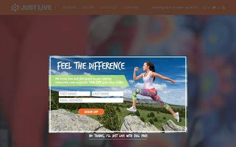 Screenshot of Home Page justlive.com - Home - Just Live Inc - captured Feb. 12, 2016