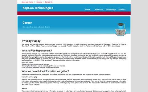 Screenshot of Privacy Page kapgantech.com - KapGan Technologies - captured Nov. 3, 2014