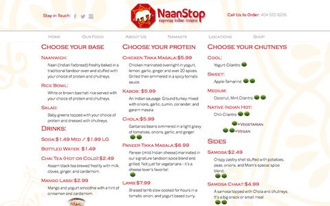 Screenshot of Menu Page naanstop.com - Menu | Naanstop - captured Oct. 1, 2014