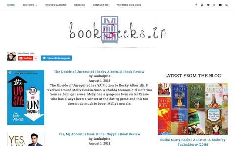 Screenshot of Home Page bookgeeks.in - bookGeeks India | Book Reviews | Author Interviews - captured Aug. 3, 2018