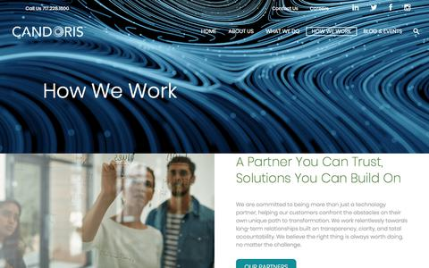 Screenshot of Testimonials Page candoris.com - How We Work - Candoris Managed IT Services You Can Count on | Candoris Technologies - captured Aug. 3, 2018
