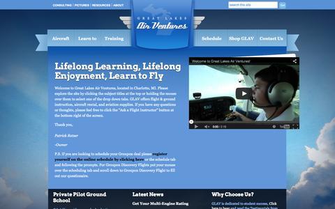 Screenshot of Home Page greatlakesairventures.com - Great Lakes Air Ventures   - captured Jan. 27, 2015