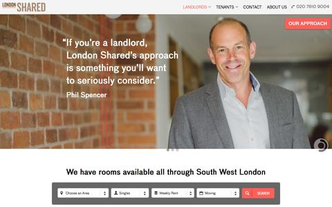 Screenshot of Home Page londonshared.co.uk - London Shared | Shared Accommodation In London Made Easy | Lettings and Property Management - captured Dec. 13, 2015