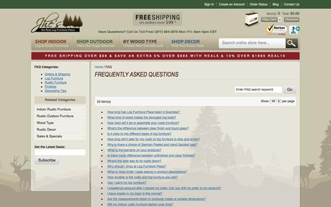 Screenshot of FAQ Page logfurnitureplace.com captured Sept. 22, 2014