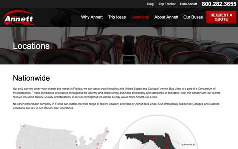 Screenshot of Locations Page annettbuslines.com - Locations | Annett Bus Lines - captured July 26, 2016