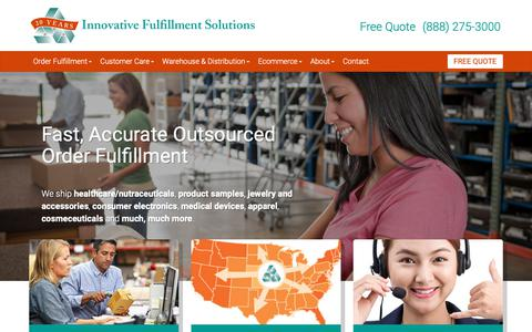 Screenshot of Home Page ifssolutions.com - Outsourcing, Call Center, Order Fulfillment Center, Warehousing, Pick and Pack - captured Oct. 11, 2018