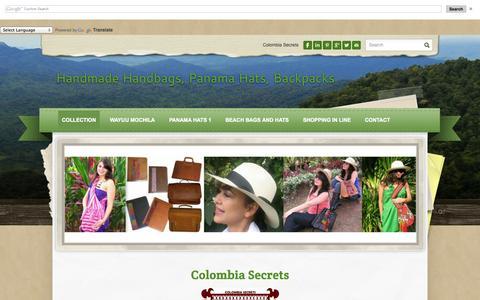 Screenshot of Home Page colombiasecrets.net - Handmade Handbags, Panama Hats, Backpacks - Collection - captured Sept. 30, 2014