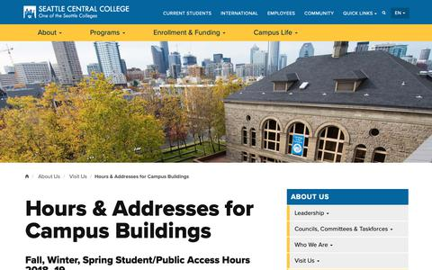 Screenshot of Hours Page seattlecentral.edu - Hours & Addresses for Campus Buildings | Seattle Central College - captured Oct. 18, 2018