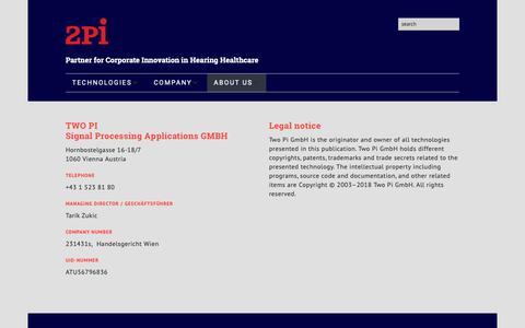 Screenshot of Terms Page two-pi.com - legal notice | Two Pi - captured Oct. 20, 2018