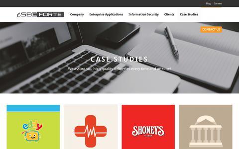 Screenshot of Case Studies Page esecforte.com - Case Studies | IT Security Services | Mobile App Development | Supply Chain Management - captured July 2, 2017