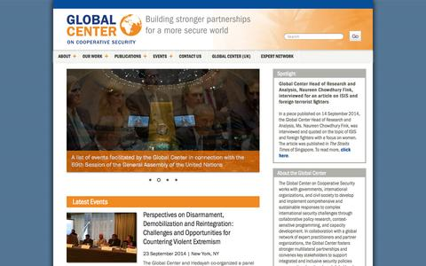 Screenshot of Home Page globalcenter.org - Global Center on Cooperative Security — Building stronger partnerships for a more secure world - captured Oct. 2, 2014