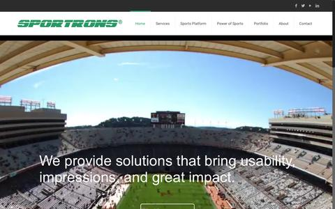 Screenshot of Home Page sportrons.com - Sportrons, Reaching Sports Fans in America™   One Call Any Sport, Any Venue, Any Time™ - captured Oct. 20, 2018