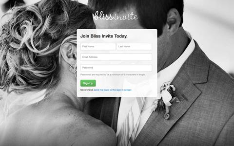 Screenshot of Signup Page blissinvite.com - Sign up — BlissInvite: Mailing wedding invitations made easy - captured Oct. 5, 2014