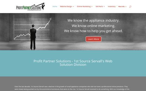 Screenshot of Home Page profitpartnersolutions.com - Profit Partner Solutions - 1st Source Servall's online marketing arm. - captured July 23, 2018