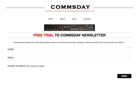 Screenshot of Trial Page commsday.com - Free trial to CommsDay newsletter – CommsDay - captured Jan. 10, 2018