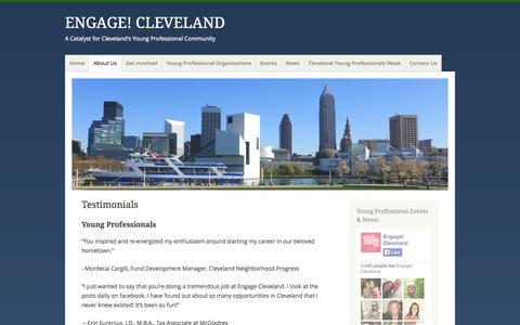 Screenshot of Testimonials Page engagecleveland.com - Testimonials   ENGAGE! CLEVELAND - captured Sept. 30, 2014