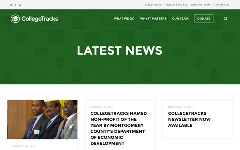 Screenshot of Press Page collegetracksusa.org - Latest News – CollegeTracks - captured April 15, 2016