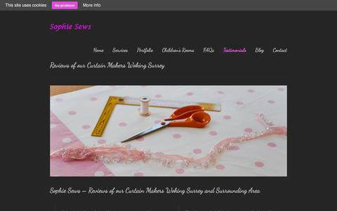 Screenshot of Testimonials Page sophiesews.com - Reviews of our Curtain Makers Woking SurreySophie Sews - captured Jan. 11, 2016