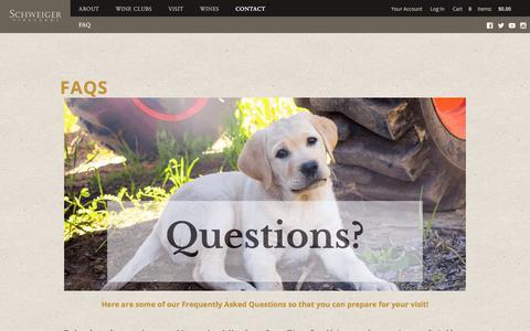 Screenshot of FAQ Page schweigervineyards.com - FAQs | Schweiger Vineyards - captured July 19, 2019