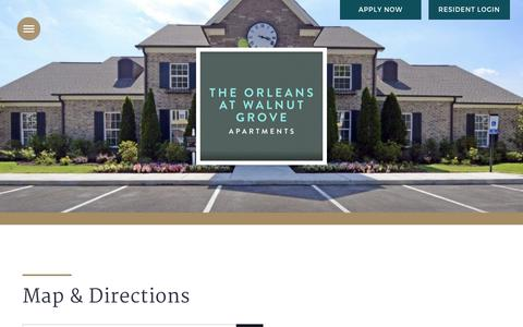 Screenshot of Maps & Directions Page the-orleans.com - Map and Directions to Orleans at Walnut in Cordova, TN - captured Nov. 16, 2017