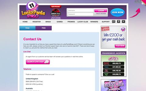 Screenshot of Support Page luckypantsbingo.com - Help and Customer Support - Lucky Pants bingo - captured Sept. 30, 2014