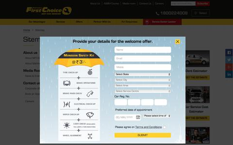 Screenshot of Site Map Page mahindrafirstchoiceservices.com - Car Service Workshop Car Care Station Service Centre - Mahindra First Choice Services - captured June 29, 2017