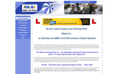 Screenshot of Home Page mrb-drivingschool.co.uk - Driving Lessons Wirral - Driving Lessons Wirral - Wirral Driving School. Call 0800 112 0125 NOW - captured Sept. 30, 2014