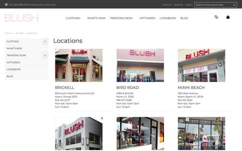 Screenshot of Locations Page shopblush.com - BLUSH - Locations - captured Oct. 4, 2018