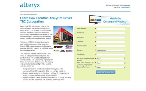 Screenshot of Landing Page alteryx.com - Webcast: The Analytics Highway to Customer Loyalty - captured June 30, 2016