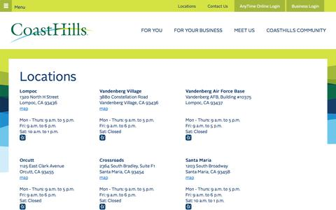 Screenshot of Locations Page coasthills.coop - Locations - captured Nov. 5, 2014