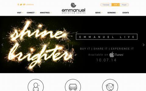 Screenshot of Home Page emmanuelcc.org - Emmanuel Christian Center - captured Oct. 2, 2014