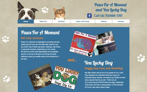 Screenshot of Home Page paws-for-a-moment.com - Paws For A Moment - captured Oct. 2, 2014