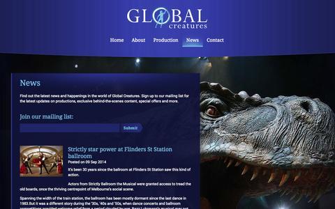 Screenshot of Press Page global-creatures.com - News - Global Creatures - captured Sept. 30, 2014