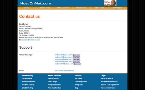 Screenshot of Contact Page hostonnet.com - Linux / Windows Unlimited Reseller Plan - captured Oct. 31, 2014